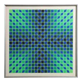 Victor Vasarely Op Art Framed Serigraph For Sale