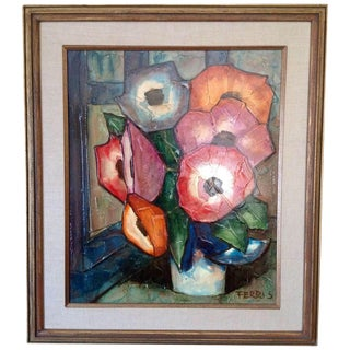 Impasto Floral Still Life Signed by Ferris For Sale