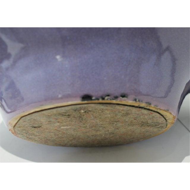Vintage Artisan Vase Glazed Earthenware Lavender Coloration For Sale - Image 9 of 11
