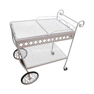 Mid Century Vintage Iron Rolling Server Bar Cart Salterini Woodard Era For Sale