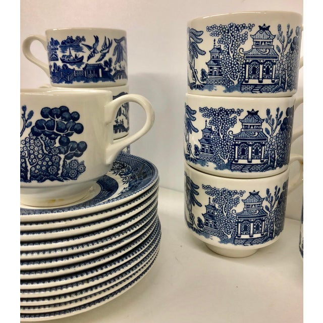 Churchill Blue Willow Cups & Saucers Set - 22 Piece Set For Sale - Image 4 of 9