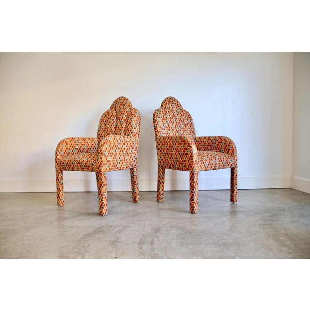 Scalloped Postmodern Armchairs- A Pair For Sale - Image 11 of 13
