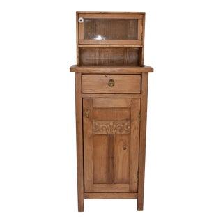 Pine Nightstand With Glazed Cupboard For Sale