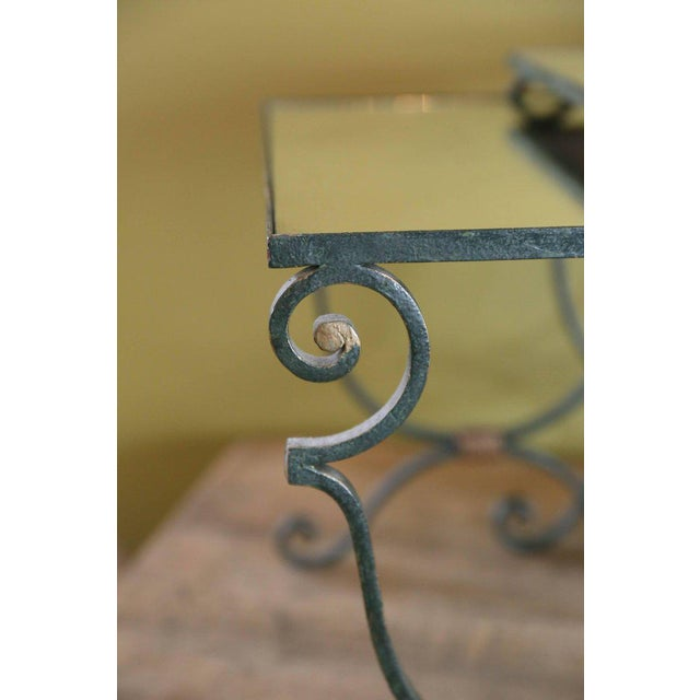 French Set Three French Mirrored-Top Iron Nesting Tables For Sale - Image 3 of 9