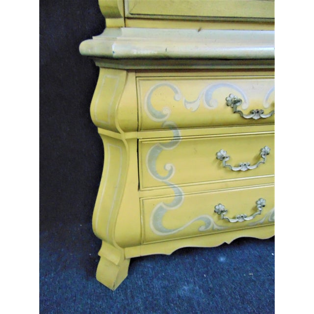 Ceramic Drexel French Style Paint Decorated China Cabinet For Sale - Image 7 of 10
