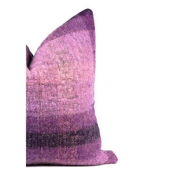 """Contemporary Purple Plaid Mohair Wool Pillow 22"""" X 22"""" For Sale - Image 3 of 8"""