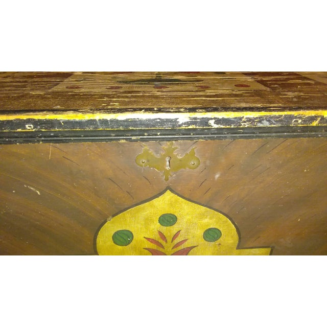 Mid-Century Modern Antique Folk Art Hand Painted Wedding Chest For Sale - Image 3 of 9