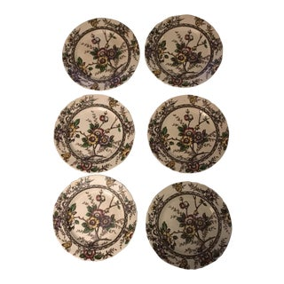 Alfred Meakin Floral Butterfly Dessert Plates - Set of 6