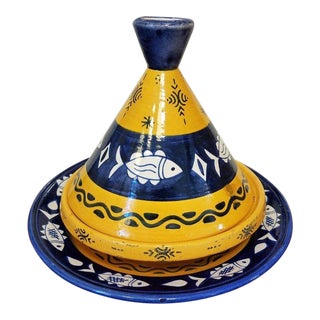 3pc. Large Decorative Moroccan Tagine Pot For Sale