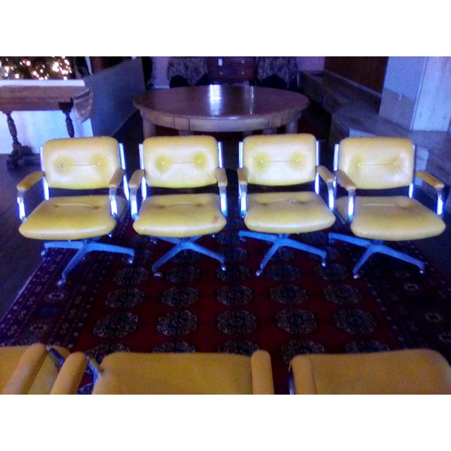 Chrome 1960 Vintage Yellow Captain Chairs - Set of 8 For Sale - Image 7 of 7
