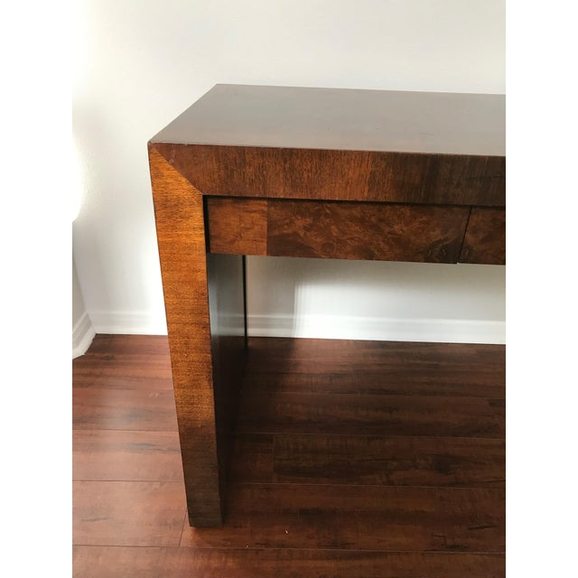 Brown Vintage Burl Wood Parsons Writing Desk by Hekman Furniture Company For Sale - Image 8 of 12