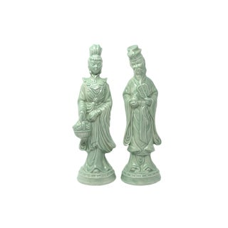 Vintage Celadon Porcelain Man and Woman - a Pair