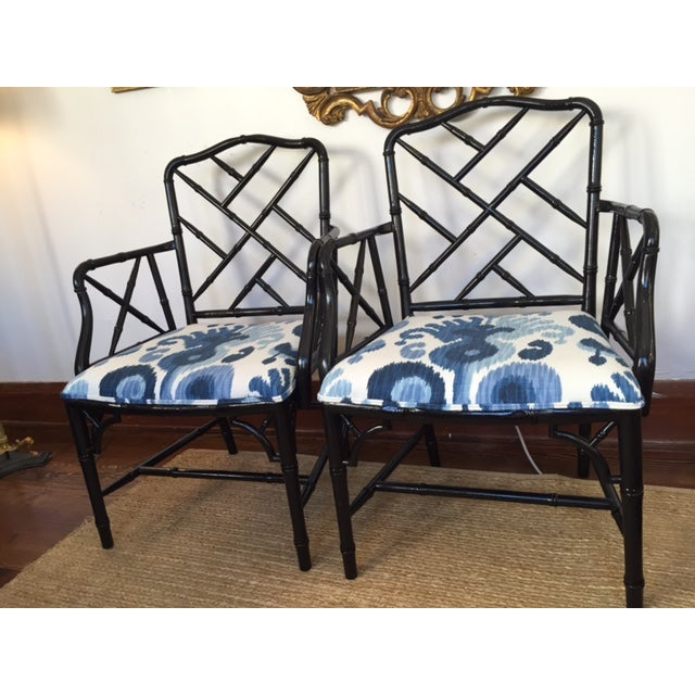Chinese Chippendale Faux Bamboo Chairs - A Pair - Image 4 of 9