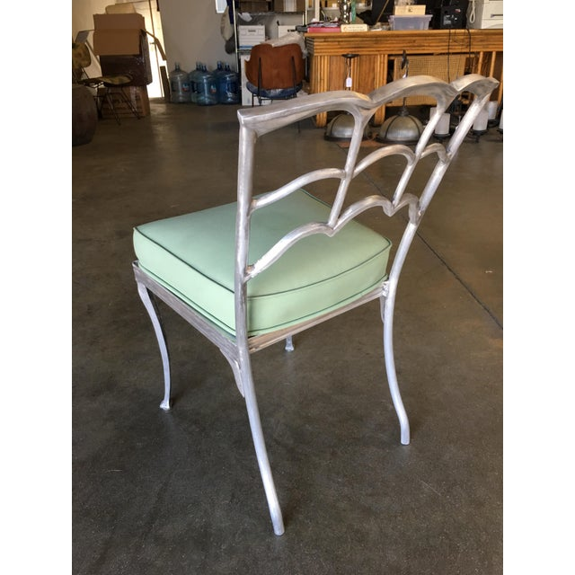 Art Deco Silver Tone Casted Aluminum Spiderweb Side Chair