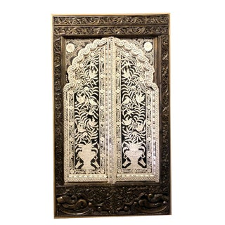 Art Deco Tree of Life Bone Inlay Hand Carved Wall Panel Unique Arch Design Wall Panel For Sale
