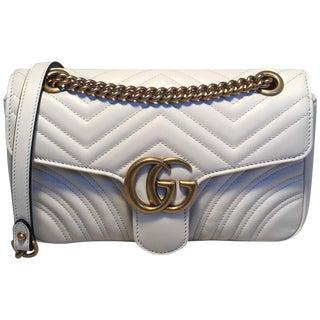 Gucci Gg Marmont Small Matelassé White Leather Shoulder Bag For Sale