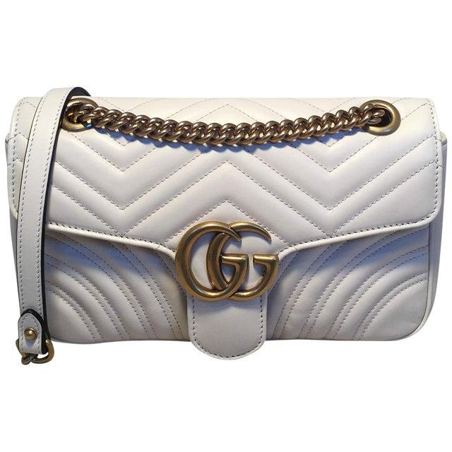 946d3383b9b663 Gucci Gg Marmont Small Matelassé White Leather Shoulder Bag | Chairish