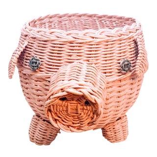 Vintage Wicker Pig Basket Planter For Sale