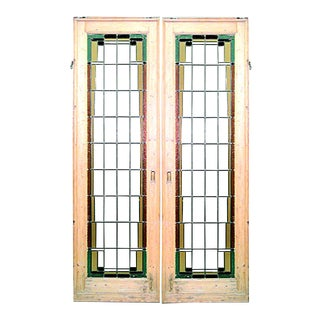 Early 20th Century American Mission Pine and Glass Doors-A Pair For Sale