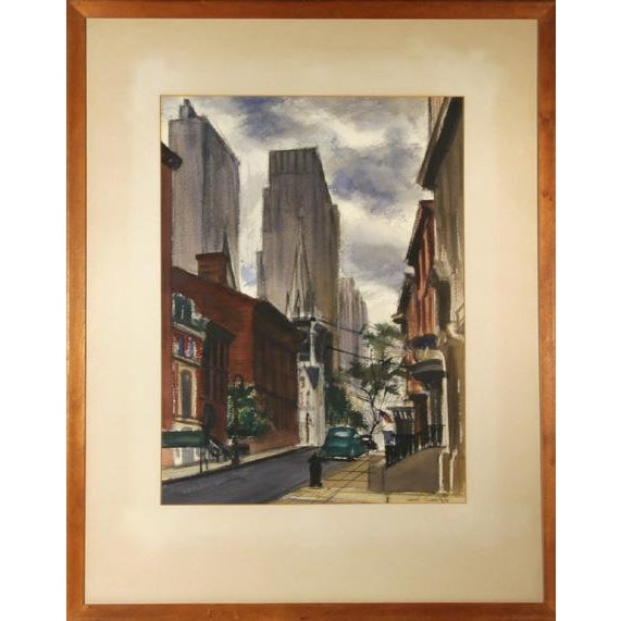 American Joseph Barber, New York City Street , Pastel and Watercolor on Paper, Signed For Sale - Image 3 of 3
