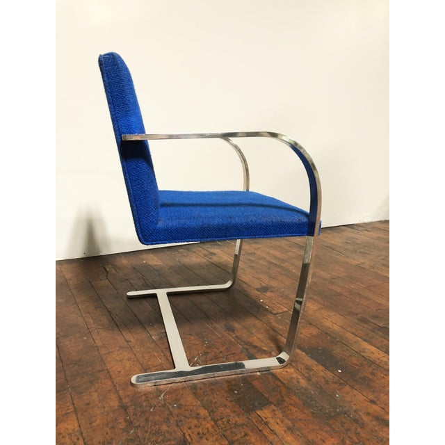 Ludwig Mies van der Rohe 1970s Original Mies Van Der Rohe for Knoll Solid Steel Flat Bar Brno Dining Chairs - Set of 4 For Sale - Image 4 of 13