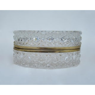 Vintage: C1930s-50s, Oval-Shaped, Cut Crystal Glass Beveled Jewelry Casket, Keepsake Box Preview
