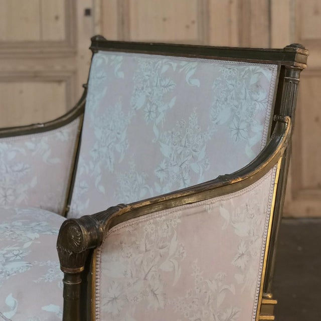 Wood 19th Century Italian Gilded Neoclassical Chair & a Half For Sale - Image 7 of 11