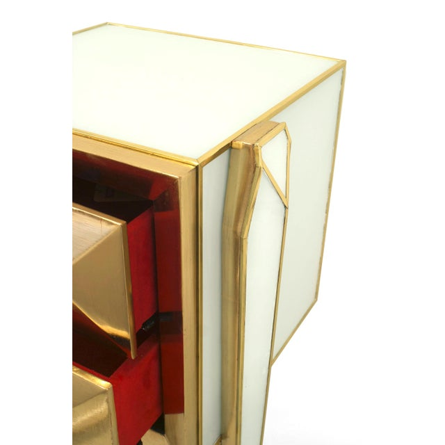 Pair of Limited Edition Giltwood With White Glass and Brass Side Commodes For Sale - Image 4 of 8