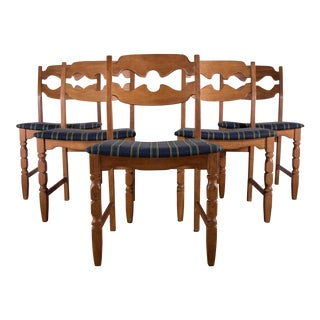 1960s Mid-Century Modern Henning Kjærnulf Dining Chairs - Set of 5 For Sale