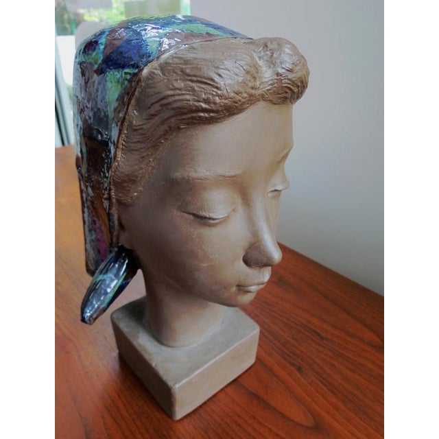 Danish Modern Girl With Scarf Vintage Danish Modern Sculpture For Sale - Image 3 of 8