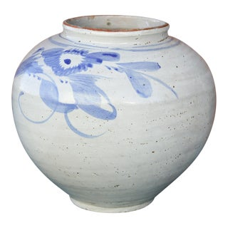 Blue and White Asian Glazed Pot For Sale