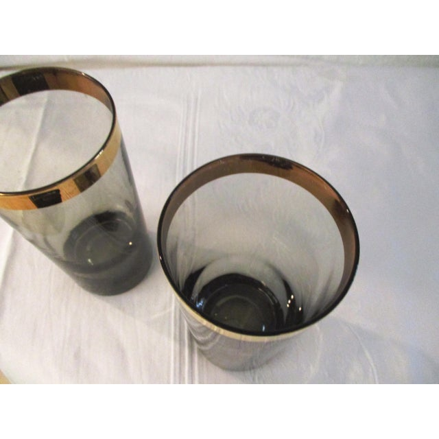 1970s Gold Banded Smoke Highball Glasses, Set of 7 For Sale - Image 4 of 5