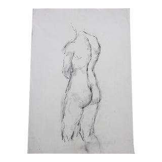 Vintage Standing Nude Back Facing Pencil / Graphite Drawing #2 Artist Julianne Darrow Humar (1926-2018) For Sale