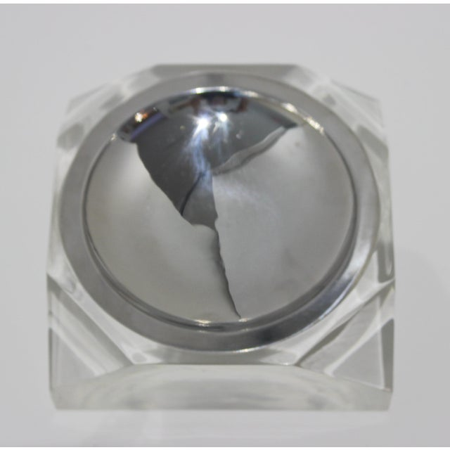 Octagonal Lucite & Stainless Steel candy or nut dish bowl from a South Beach estate