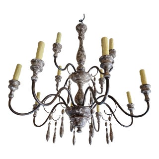 Italian Wood & Iron Chandelier For Sale