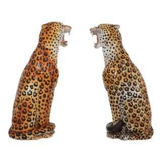 Leopard Ceramic Hand Painted Sculptures For Sale