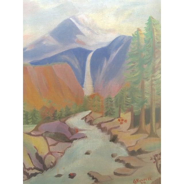 1940's Primitive Landscape Painting - Image 3 of 6