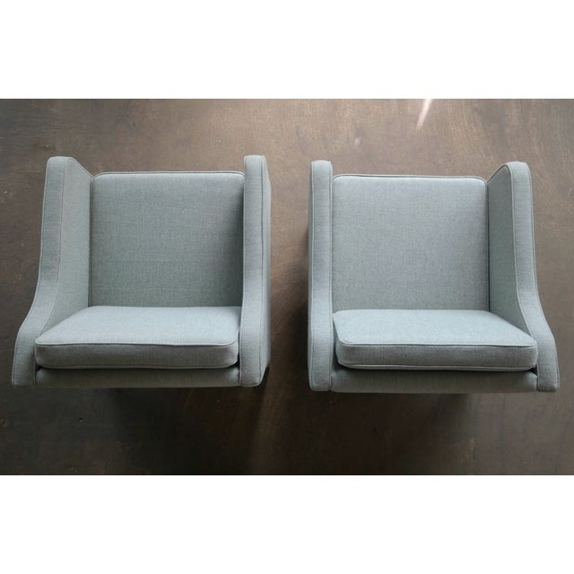 Fabric Børge Mogensen Model 2421 Style Danish Lounge Chairs in Cornflower Blue Wool For Sale - Image 7 of 13