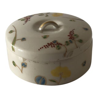 Vintage Round Ceramic Box With Lid in White With Hand Painted Flowers For Sale