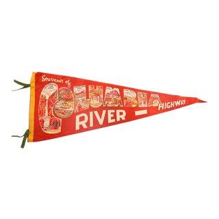 Vintage Souvenir of Columbia River Highway Felt Flag Pennant