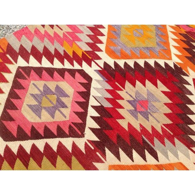 Textile Vintage Turkish Kilim Rug - 5′4″ × 9′ For Sale - Image 7 of 8