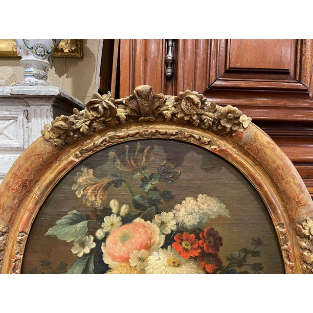 Mid 19th Century 19th Century French Oval Oil on Board Floral Painting in Carved Gilt Frame For Sale - Image 5 of 12