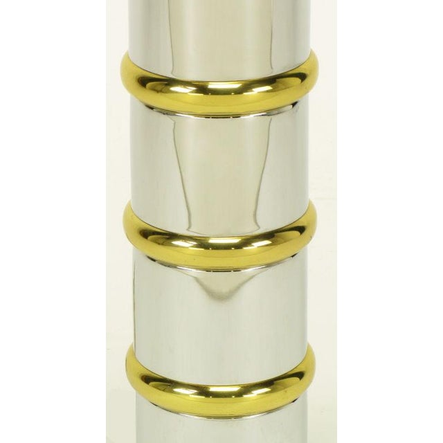 1970s Chrome & Brass Segmented Column Table Lamp. For Sale - Image 5 of 6