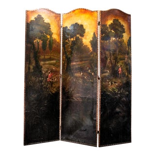 Late 19th Century Painted Screen With Hunt Scene For Sale