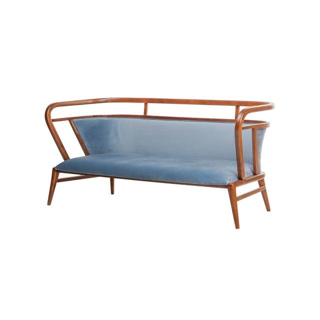 Contemporary Contemporary Mid Century Style Scandinavian Modern Walnut Sofa For Sale - Image 3 of 7
