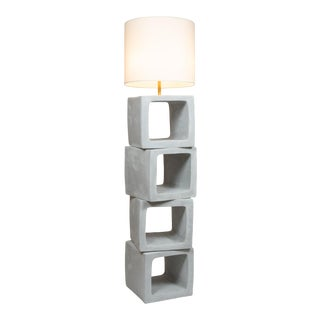 Daniel Reynolds Plastered Block Standing Lamp For Sale