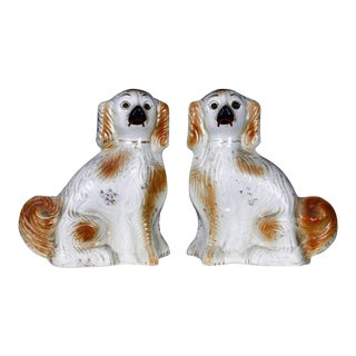 English Staffordshire Golden Ceramic Dogs - a Pair For Sale