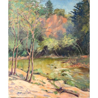 1950s Vintage California Forest and Stream Painting Preview