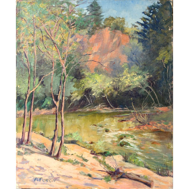 """Beautiful oil painting of trees and a stream in a forest. Circa 1950s. Signed """"A. Fuson"""" lower left. Unframed. A Santa..."""