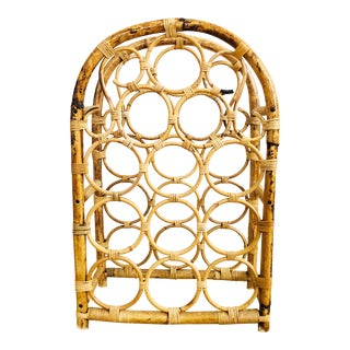 Vintage Arched Bamboo Wine Rack For Sale